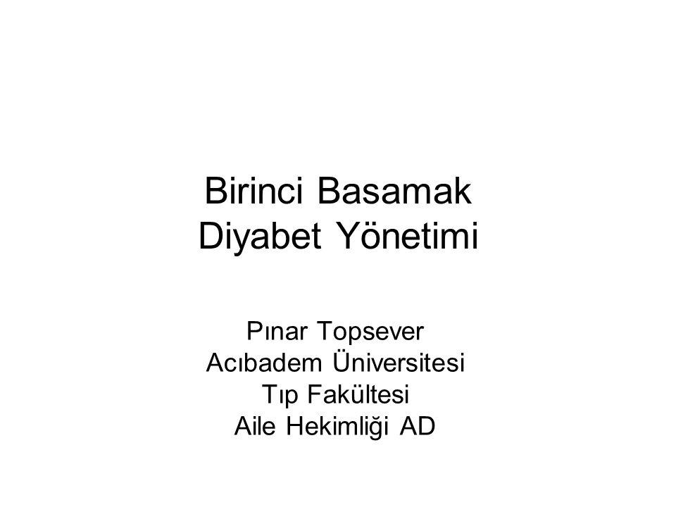 Birinci Basamak Diyabet Yönetimi Pınar Topsever Acıbadem Üniversitesi Tıp Fakültesi Aile Hekimliği AD
