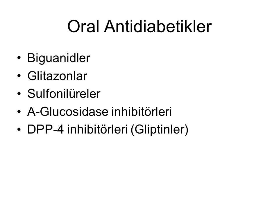 Farmakolojik Hipoglisemik Ajanlar I Oral antidiyabetik ajanlar (OAD) –Biguanidler Metformin –Sekretagoglar Sulfonilüreler Glinidler –Glitazonlar –Alpha glikosidaz inhibitörleri –İncretin analogları DPP-4 inhibitörleri (Gliptinler) İnsülinler İncretin analogları –GLP-1 mimetikleri (s.c.)