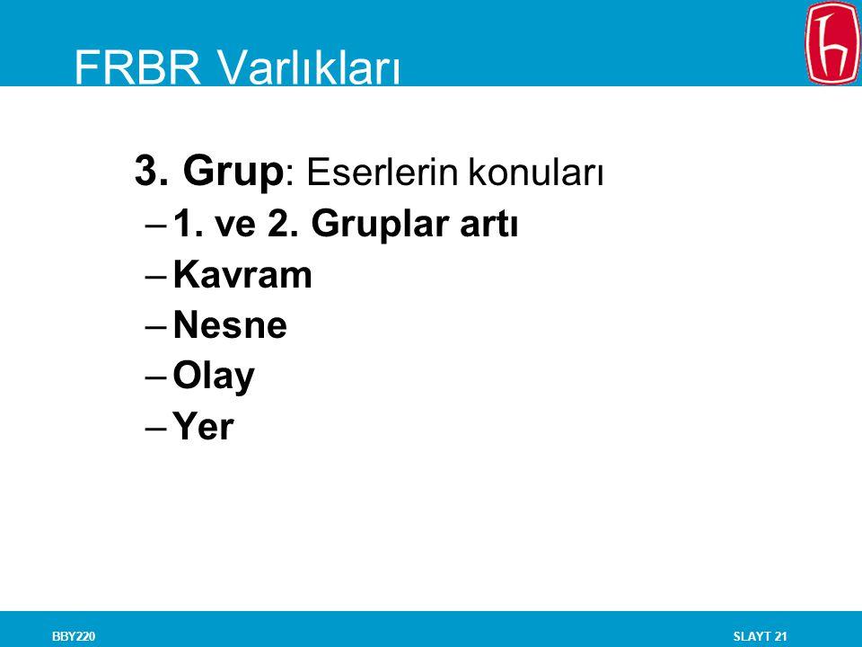 SLAYT 21BBY220 FRBR Varlıkları 3. Grup : Eserlerin konuları –1. ve 2. Gruplar artı –Kavram –Nesne –Olay –Yer