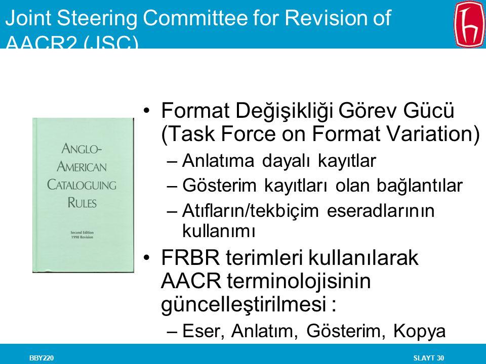 SLAYT 30BBY220 Joint Steering Committee for Revision of AACR2 (JSC) Format Değişikliği Görev Gücü (Task Force on Format Variation) –Anlatıma dayalı ka