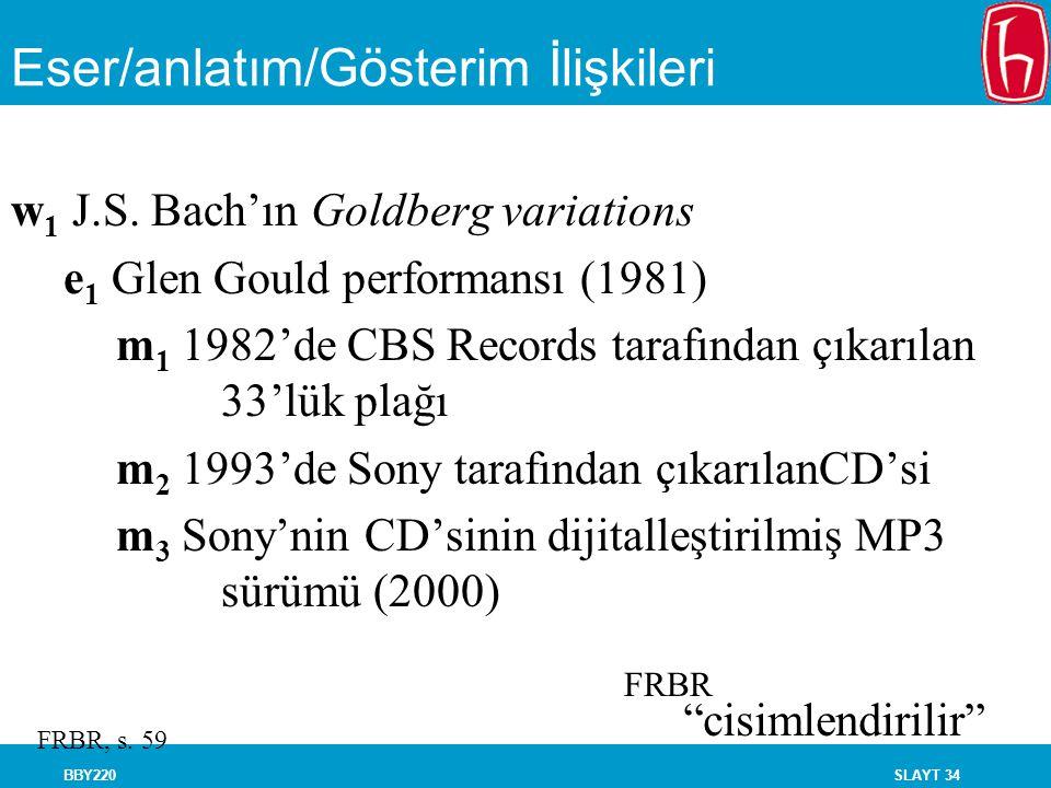 SLAYT 34BBY220 Eser/anlatım/Gösterim İlişkileri w 1 J.S. Bach'ın Goldberg variations e 1 Glen Gould performansı (1981) m 1 1982'de CBS Records tarafın