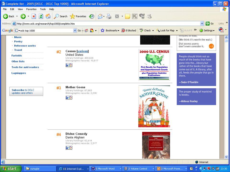 SLAYT 15BBY220  Functional Requirements for Bibliographic Records  IFLA'nın aynı adlı çalışma grubu tarafından yayımlandı  IFLA Kataloglama Birimi Daimi Komitesince onaylandı  Eylül 1997'de yayımlandı  Adres: www.ifla.org (pdf sürümü)www.ifla.org FRBR Nedir?