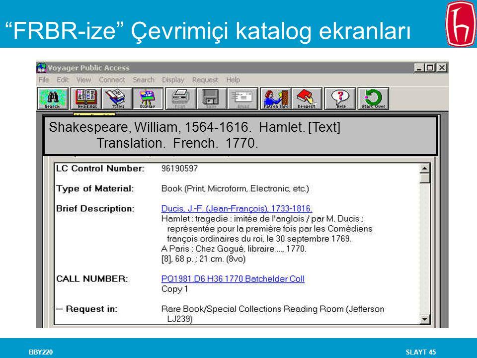 """SLAYT 45BBY220 """"FRBR-ize"""" Çevrimiçi katalog ekranları Shakespeare, William, 1564-1616. Hamlet. [Text] Translation. French. 1770."""