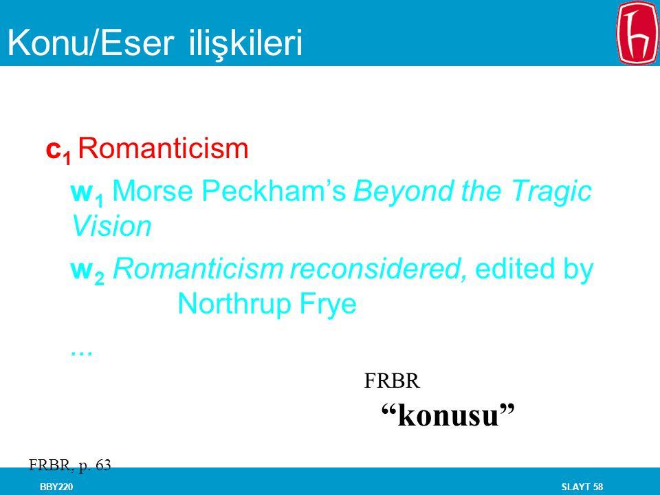 SLAYT 58BBY220 Konu/Eser ilişkileri c 1 Romanticism w 1 Morse Peckham's Beyond the Tragic Vision w 2 Romanticism reconsidered, edited by Northrup Frye
