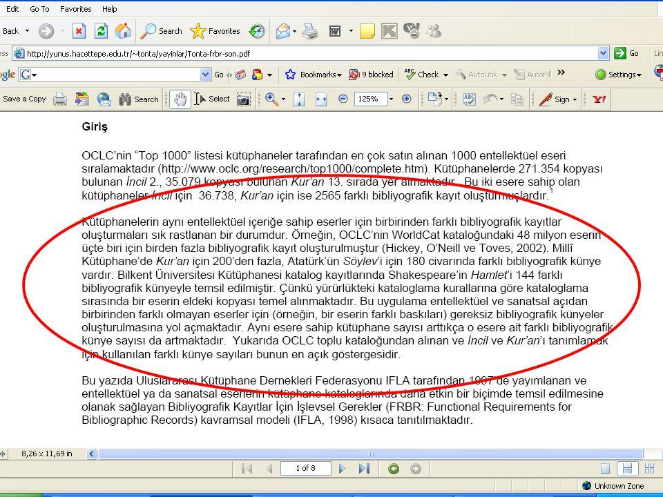 SLAYT 17BBY220 Functional Requirements for Bibliographic Records Tanımlama (FRBR: belirle, seç) Erişim (FRBR: bul) –Konu erişimi başlıklar sınıflama –Diğer erişim noktaları Mevcutlar (FRBR: sağla)