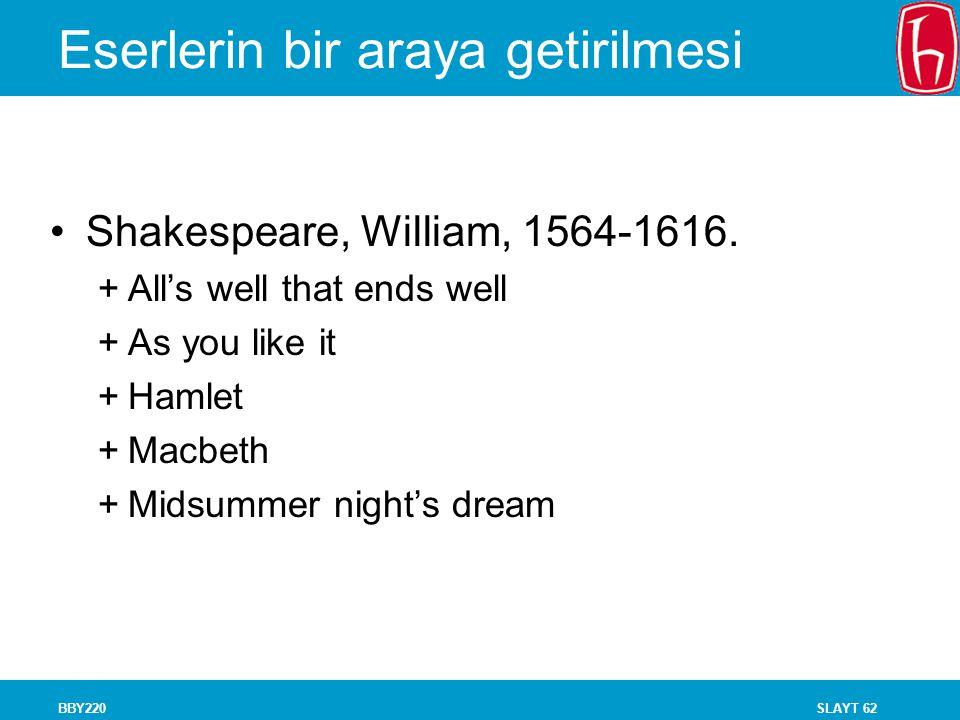 SLAYT 62BBY220 Eserlerin bir araya getirilmesi Shakespeare, William, 1564-1616. +All's well that ends well +As you like it +Hamlet +Macbeth +Midsummer