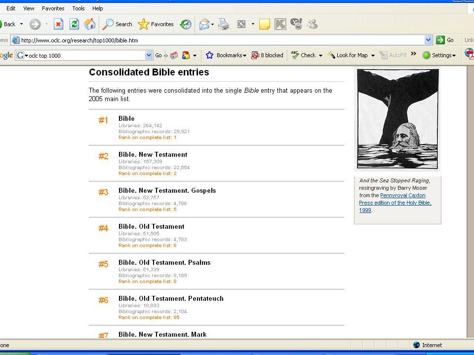 SLAYT 50BBY220 FRBR-ize MARC kayıtları OCLC algoritması http://www.oclc.org/research/software/frbr/ Kongre Kütüphanesi ekran gösterimi http://www.loc.gov/marc