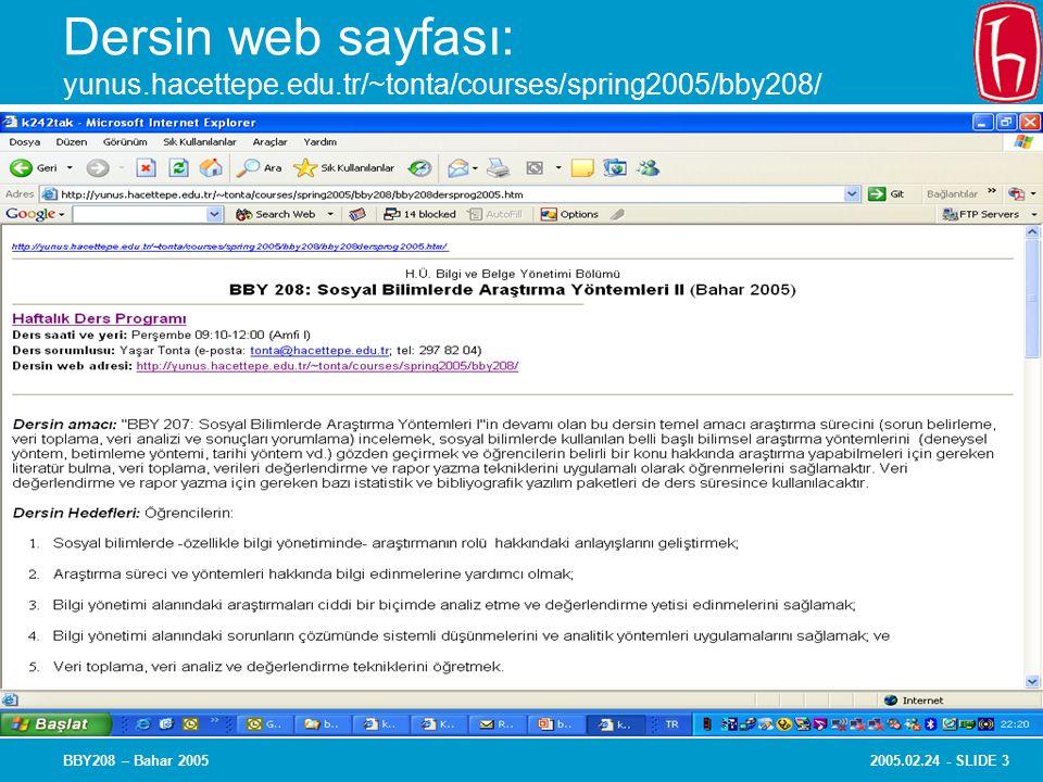2005.02.24 - SLIDE 3BBY208 – Bahar 2005 Dersin web sayfası: yunus.hacettepe.edu.tr/~tonta/courses/spring2005/bby208/