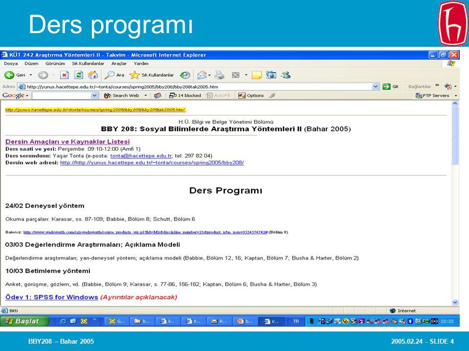 2005.02.24 - SLIDE 4BBY208 – Bahar 2005 Ders programı