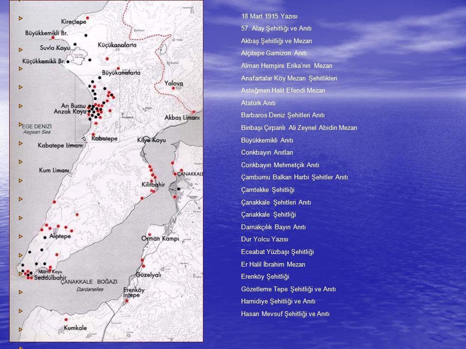 Anıtlar Hastane Bayırı Şehitliği Havuzlar Şehitliği ve Anıtı İlk Şehitler Anıtı İsimsiz Topçu Şehitliği İsimsiz Topçu Yüzbaşı Şehitliği İstihkam Yüzbaşısı Tahir Bey Anıtı Kabatepe Arıburnu Sahil Anıtı Kabatepe Tanıtma Merkezi Anıtı Kanlısırt Anıtı Kemalyeri Anıtı Kireçtepe Jandarma Anıtı ve Şehitliği Kumkale İntepe Batarya Şehitliği