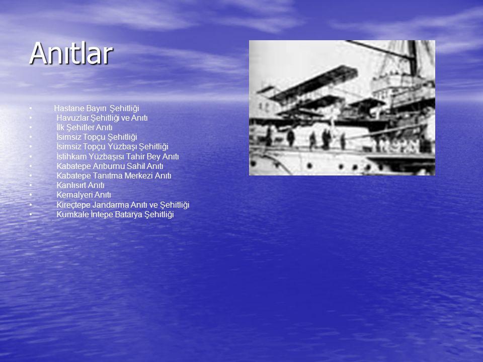 Anıtlar Hastane Bayırı Şehitliği Havuzlar Şehitliği ve Anıtı İlk Şehitler Anıtı İsimsiz Topçu Şehitliği İsimsiz Topçu Yüzbaşı Şehitliği İstihkam Yüzba