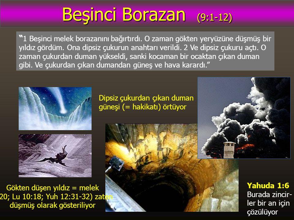 Beşinci Borazan (9:1-12) 1 Beşinci melek borazanını bağırtırdı.