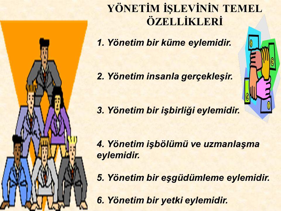 YÖNETİM İŞLEVİNİN TEMEL ÖZELLİKLERİ 1. Yönetim bir küme eylemidir. 2. Yönetim insanla gerçekleşir. 3. Yönetim bir işbirliği eylemidir. 4. Yönetim işbö