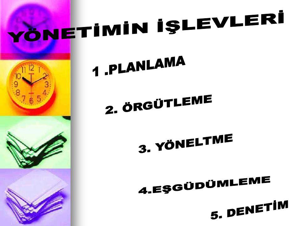 D.DENETLEME ALANI Denetleme alanı;Bir üstün etken olarak denetleyebileceği ast sayısını gösterir.