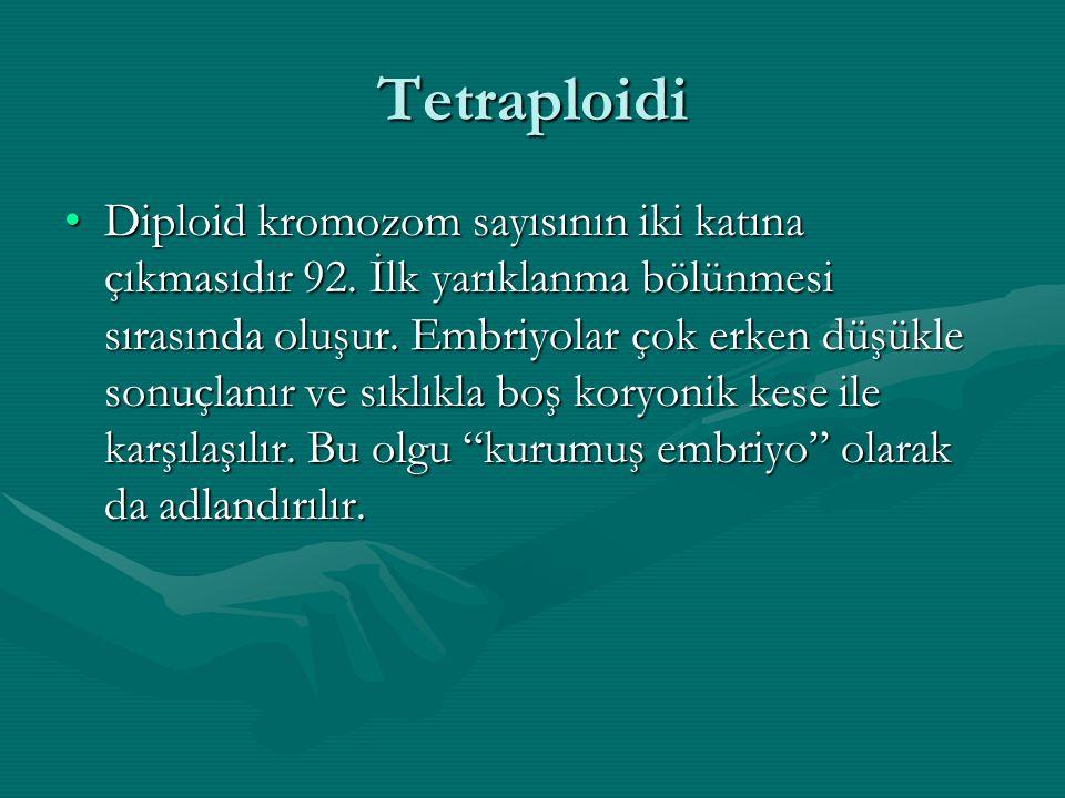 Tetraploidi Diploid kromozom sayısının iki katına çıkmasıdır 92. İlk yarıklanma bölünmesi sırasında oluşur. Embriyolar çok erken düşükle sonuçlanır ve