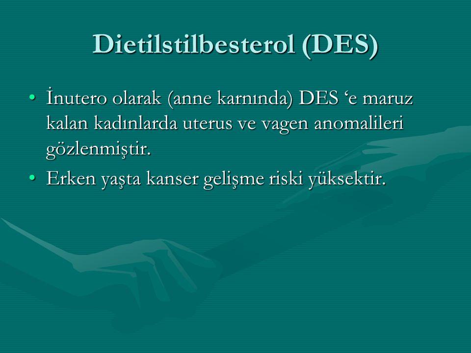 Dietilstilbesterol (DES) İnutero olarak (anne karnında) DES 'e maruz kalan kadınlarda uterus ve vagen anomalileri gözlenmiştir.İnutero olarak (anne ka