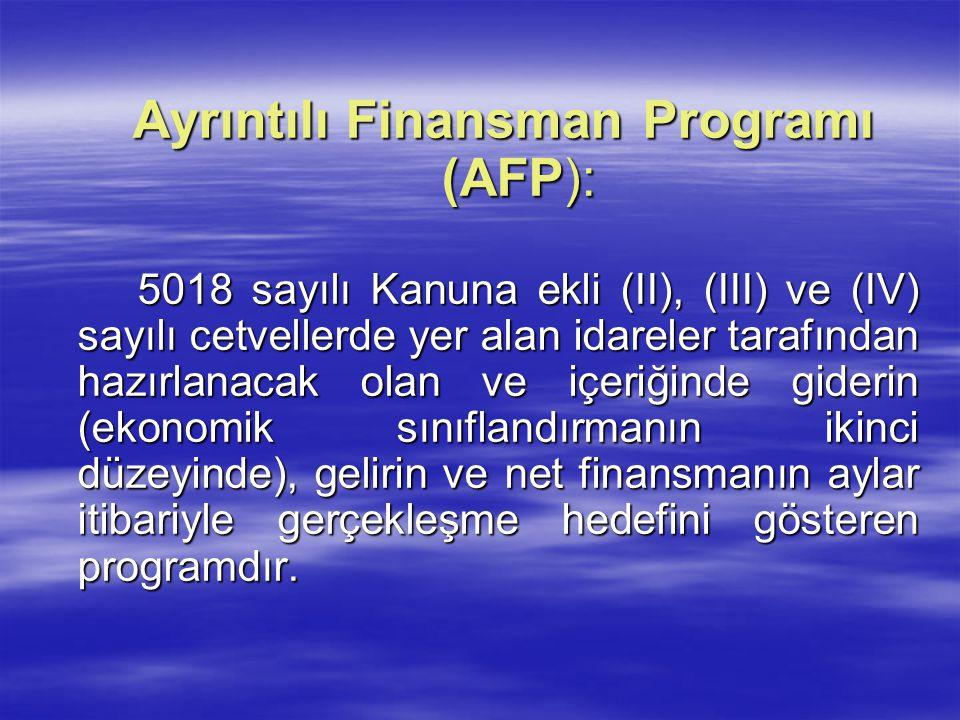 Ayrıntılı Finansman Programı (AFP): 5018 sayılı Kanuna ekli (II), (III) ve (IV) sayılı cetvellerde yer alan idareler tarafından hazırlanacak olan ve i
