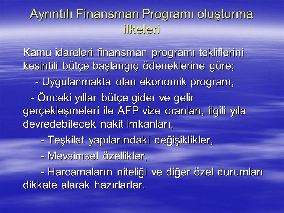 Ayrıntılı Finansman Programı oluşturma ilkeleri Kamu idareleri finansman programı tekliflerini kesintili bütçe başlangıç ödeneklerine göre; - Uygulanm
