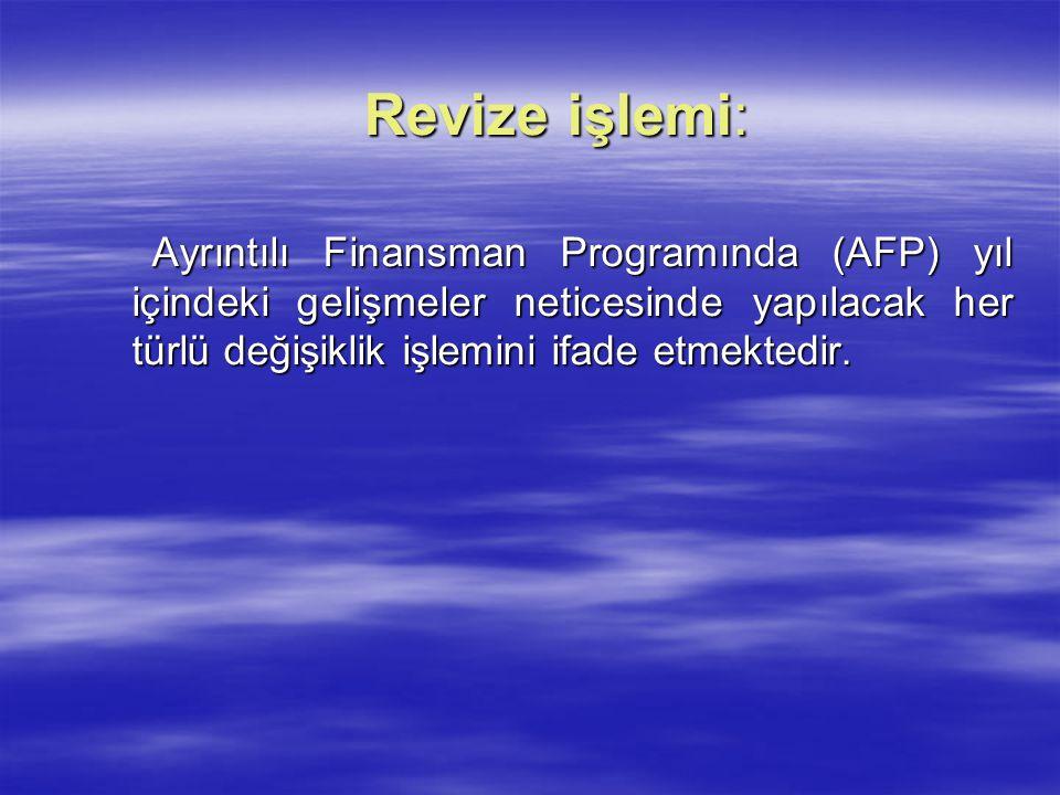 Revize işlemi: Ayrıntılı Finansman Programında (AFP) yıl içindeki gelişmeler neticesinde yapılacak her türlü değişiklik işlemini ifade etmektedir.