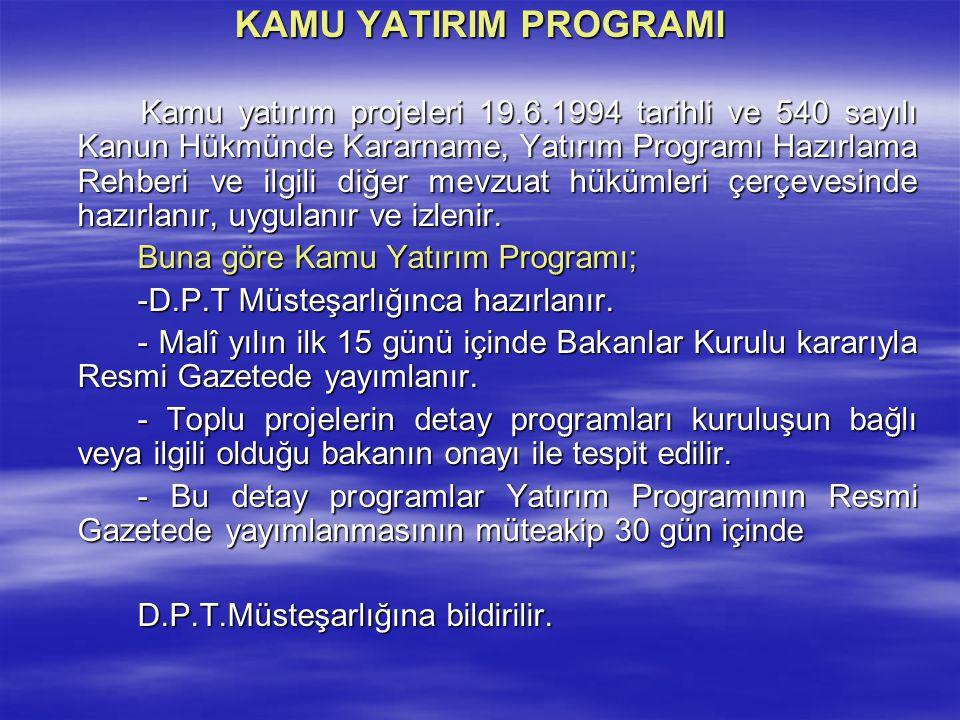 KAMU YATIRIM PROGRAMI Kamu yatırım projeleri 19.6.1994 tarihli ve 540 sayılı Kanun Hükmünde Kararname, Yatırım Programı Hazırlama Rehberi ve ilgili di