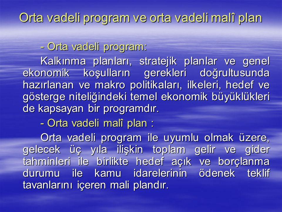Orta vadeli program ve orta vadeli malî plan - Orta vadeli program: Kalkınma planları, stratejik planlar ve genel ekonomik koşulların gerekleri doğrul