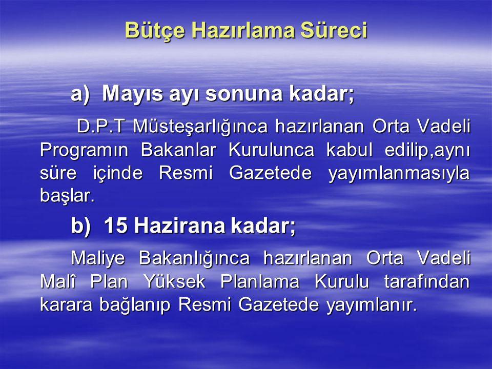 Bütçe Hazırlama Süreci a) Mayıs ayı sonuna kadar; D.P.T Müsteşarlığınca hazırlanan Orta Vadeli Programın Bakanlar Kurulunca kabul edilip,aynı süre içi