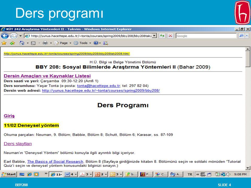 SLIDE 4BBY208 Ders programı