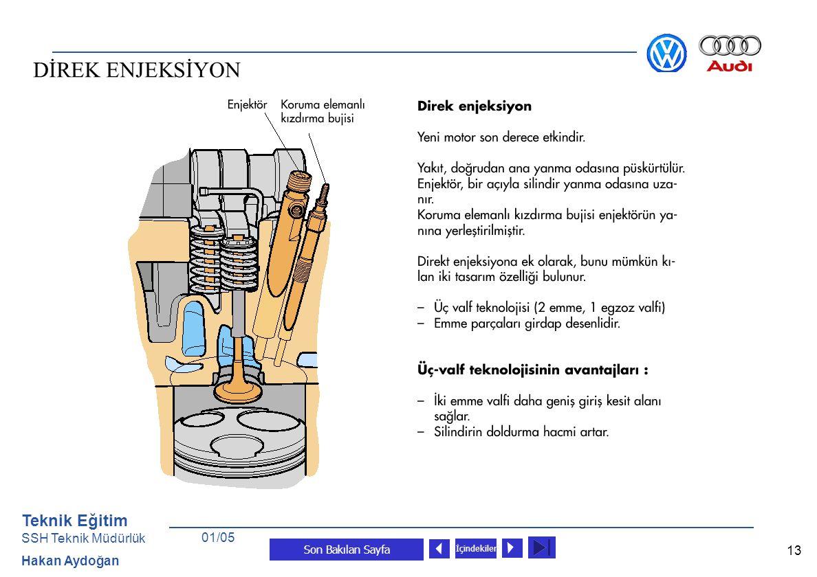 Teknik Eğitim SSH Teknik Müdürlük Hakan Aydoğan Son Bakılan Sayfa 13 İçindekiler 01/05 DİREK ENJEKSİYON