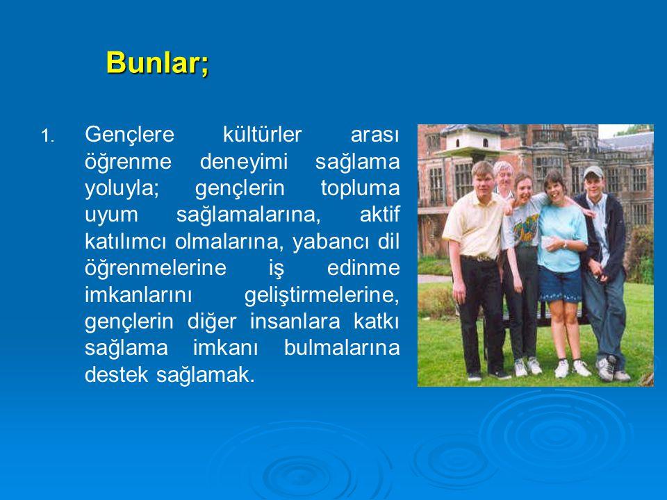 Bunlar; 1. 1. Gençlere kültürler arası öğrenme deneyimi sağlama yoluyla; gençlerin topluma uyum sağlamalarına, aktif katılımcı olmalarına, yabancı dil