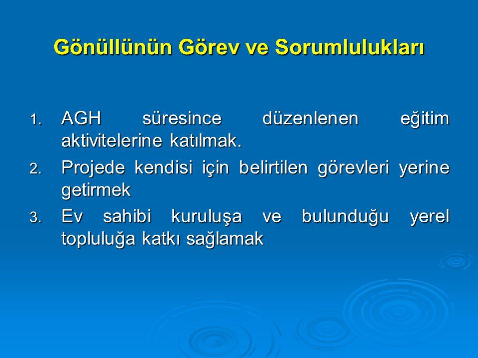 Gönüllünün Görev ve Sorumlulukları 1. AGH süresince düzenlenen eğitim aktivitelerine katılmak. 2. Projede kendisi için belirtilen görevleri yerine get