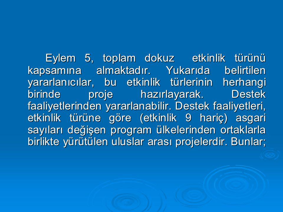 Eylem 5, toplam dokuz etkinlik türünü kapsamına almaktadır. Yukarıda belirtilen yararlanıcılar, bu etkinlik türlerinin herhangi birinde proje hazırlay