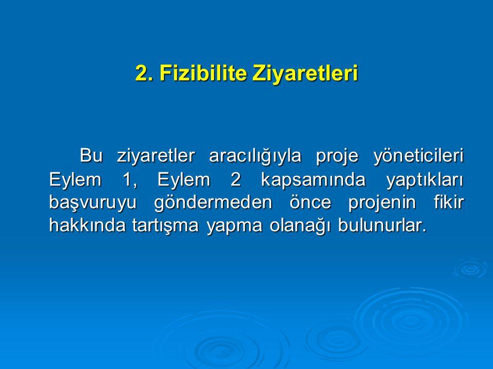 2. Fizibilite Ziyaretleri Bu ziyaretler aracılığıyla proje yöneticileri Eylem 1, Eylem 2 kapsamında yaptıkları başvuruyu göndermeden önce projenin fik