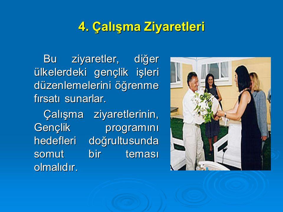 4. Çalışma Ziyaretleri Bu ziyaretler, diğer ülkelerdeki gençlik işleri düzenlemelerini öğrenme fırsatı sunarlar. Çalışma ziyaretlerinin, Gençlik progr