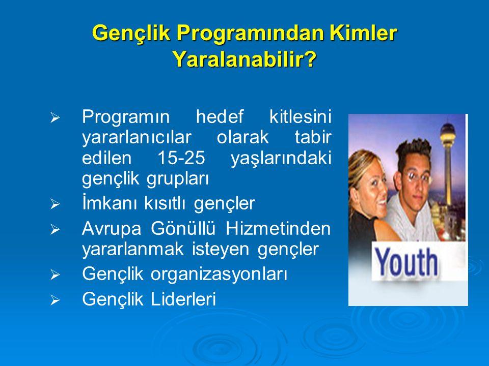 Gençlik Programından Kimler Yaralanabilir?   Programın hedef kitlesini yararlanıcılar olarak tabir edilen 15-25 yaşlarındaki gençlik grupları   İm