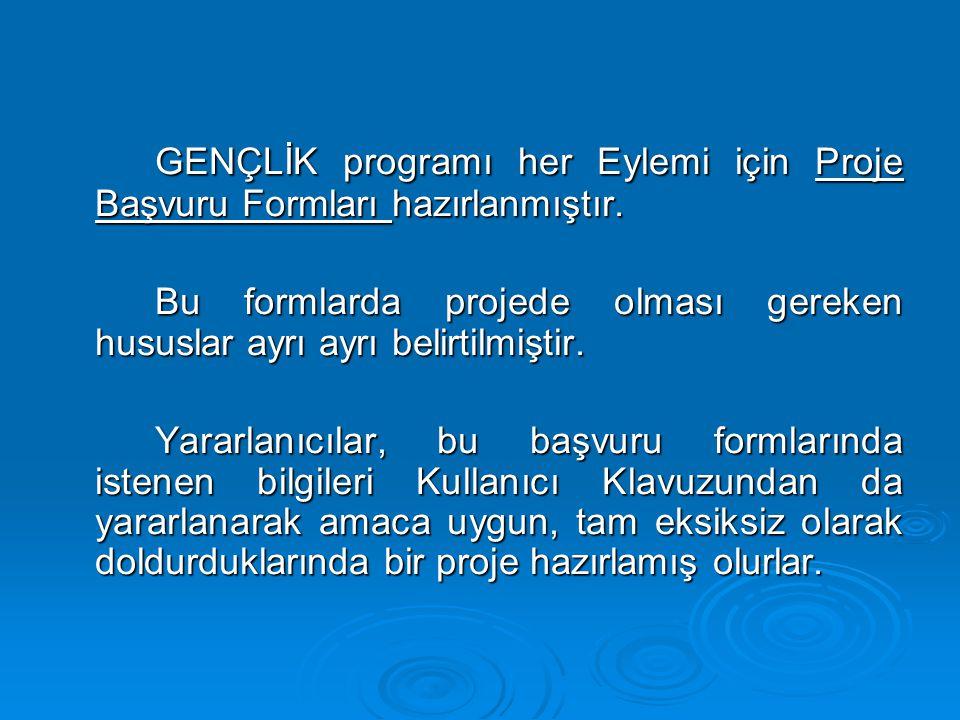 GENÇLİK programı her Eylemi için Proje Başvuru Formları hazırlanmıştır. Bu formlarda projede olması gereken hususlar ayrı ayrı belirtilmiştir. Yararla