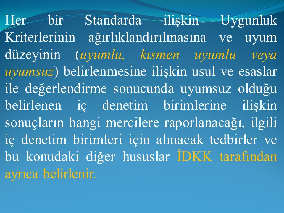 Her bir Standarda ilişkin Uygunluk Kriterlerinin ağırlıklandırılmasına ve uyum düzeyinin (uyumlu, kısmen uyumlu veya uyumsuz) belirlenmesine ilişkin u