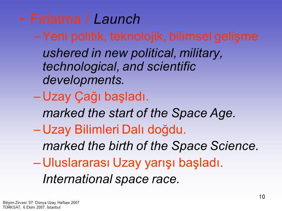 10 Fırlatma / Launch –Yeni politik, teknolojik, bilimsel gelişme ushered in new political, military, technological, and scientific developments. –Uzay