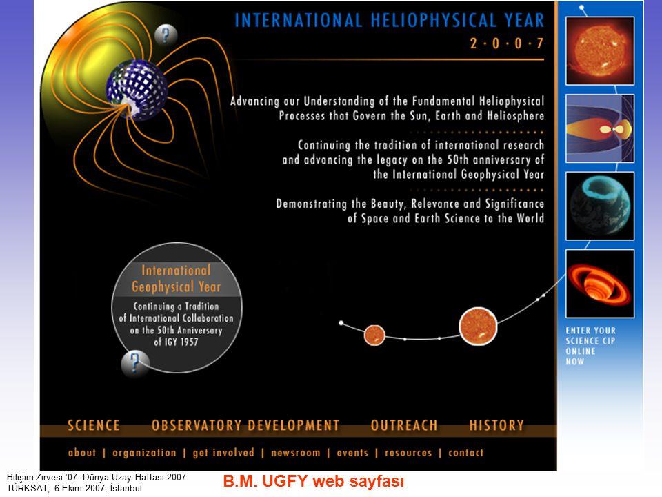 12 Bilişim Zirvesi '07: Dünya Uzay Haftası 2007 TÜRKSAT, 6 Ekim 2007, İstanbul B.M. UGFY web sayfası