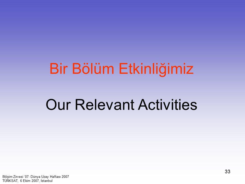 33 Bir Bölüm Etkinliğimiz Our Relevant Activities Bilişim Zirvesi '07: Dünya Uzay Haftası 2007 TÜRKSAT, 6 Ekim 2007, İstanbul