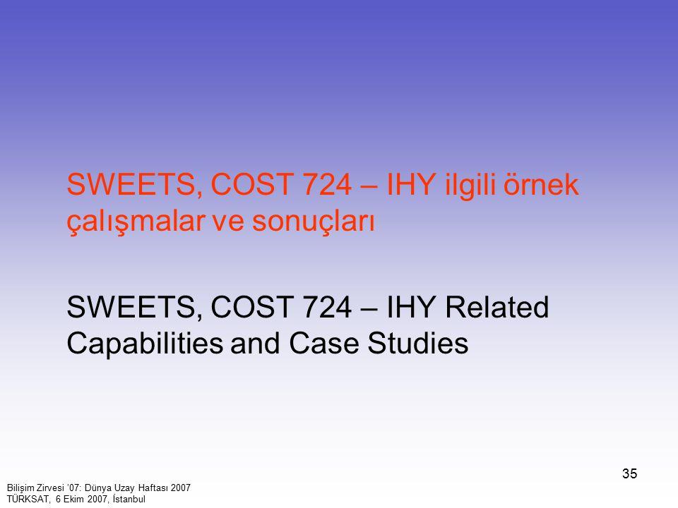 35 SWEETS, COST 724 – IHY ilgili örnek çalışmalar ve sonuçları SWEETS, COST 724 – IHY Related Capabilities and Case Studies Bilişim Zirvesi '07: Dünya Uzay Haftası 2007 TÜRKSAT, 6 Ekim 2007, İstanbul