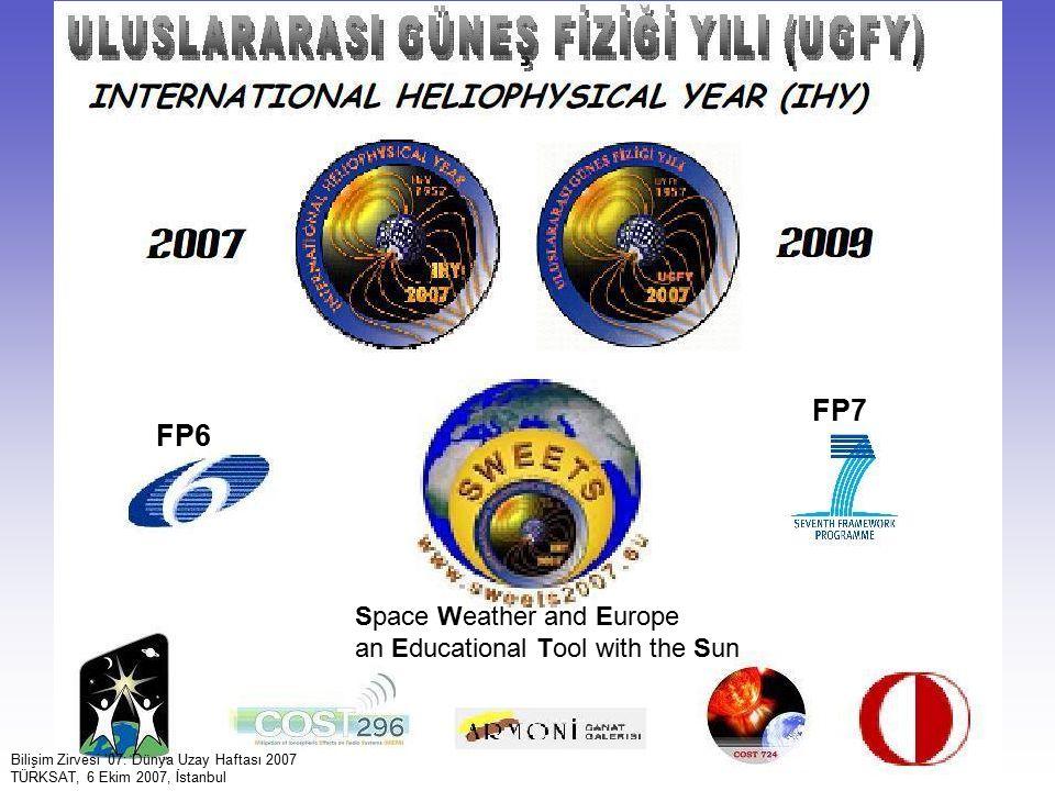 46 Bilişim Zirvesi '07: Dünya Uzay Haftası 2007 TÜRKSAT, 6 Ekim 2007, İstanbul FP6 FP7 Space Weather and Europe an Educational Tool with the Sun