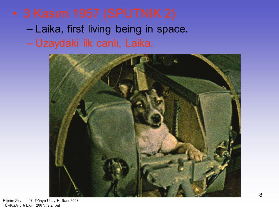 8 3 Kasım 1957 (SPUTNIK 2) –Laika, first living being in space. –Uzaydaki ilk canlı, Laika. Bilişim Zirvesi '07: Dünya Uzay Haftası 2007 TÜRKSAT, 6 Ek