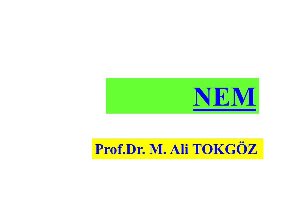 NEM Prof.Dr. M. Ali TOKGÖZ
