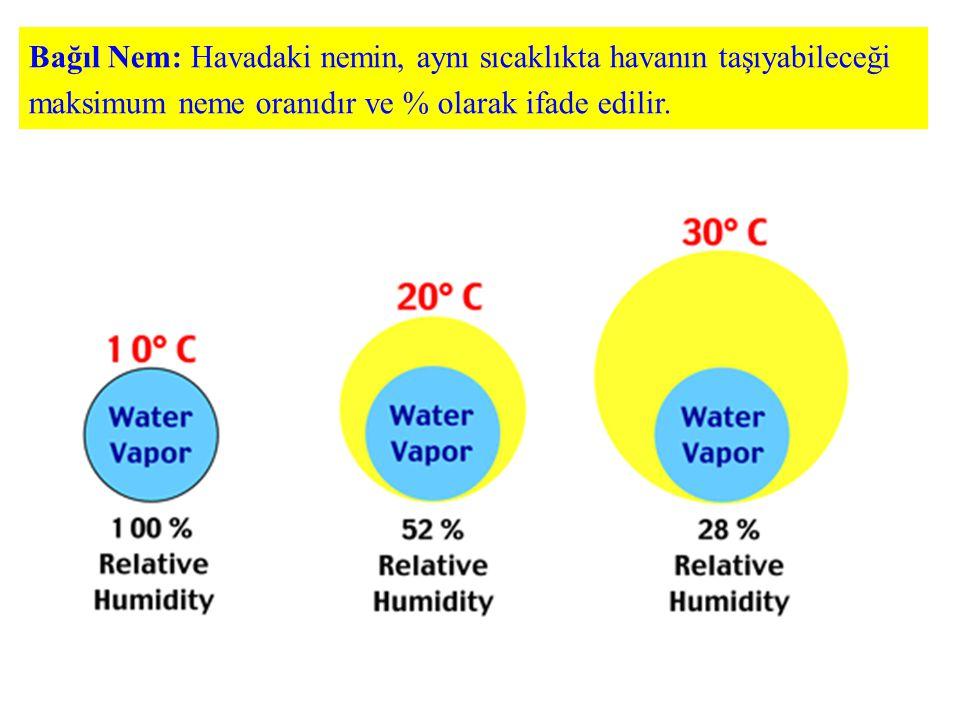 Bağıl Nem: Havadaki nemin, aynı sıcaklıkta havanın taşıyabileceği maksimum neme oranıdır ve % olarak ifade edilir.