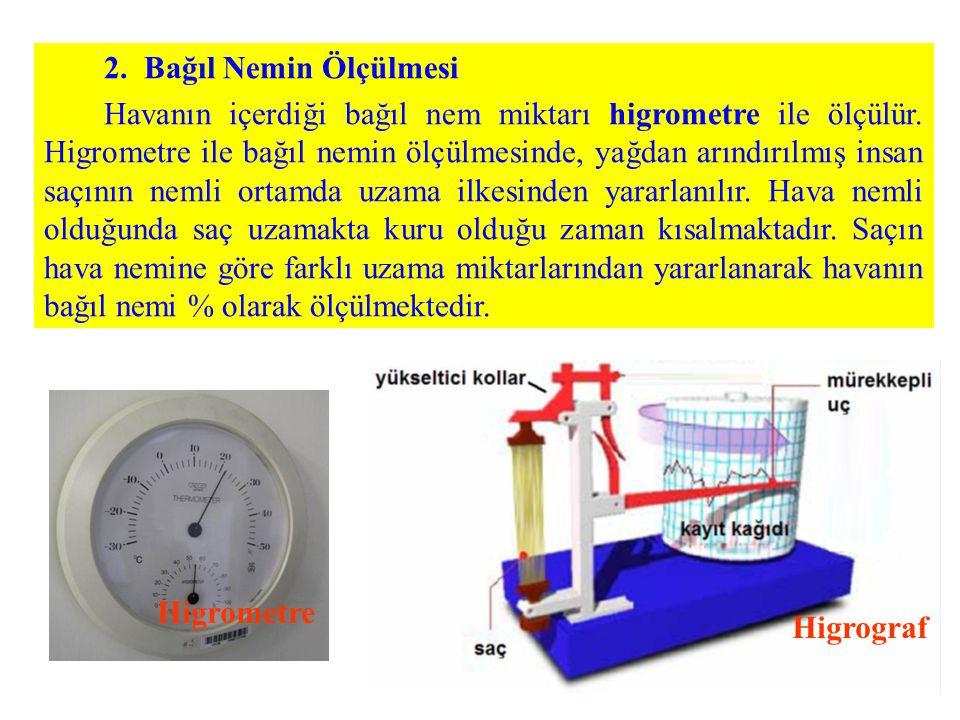 2. Bağıl Nemin Ölçülmesi Havanın içerdiği bağıl nem miktarı higrometre ile ölçülür. Higrometre ile bağıl nemin ölçülmesinde, yağdan arındırılmış insan
