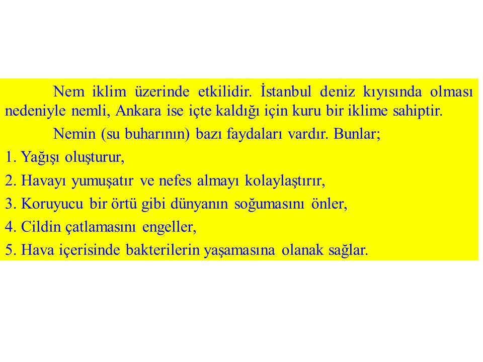 Nem iklim üzerinde etkilidir. İstanbul deniz kıyısında olması nedeniyle nemli, Ankara ise içte kaldığı için kuru bir iklime sahiptir. Nemin (su buharı