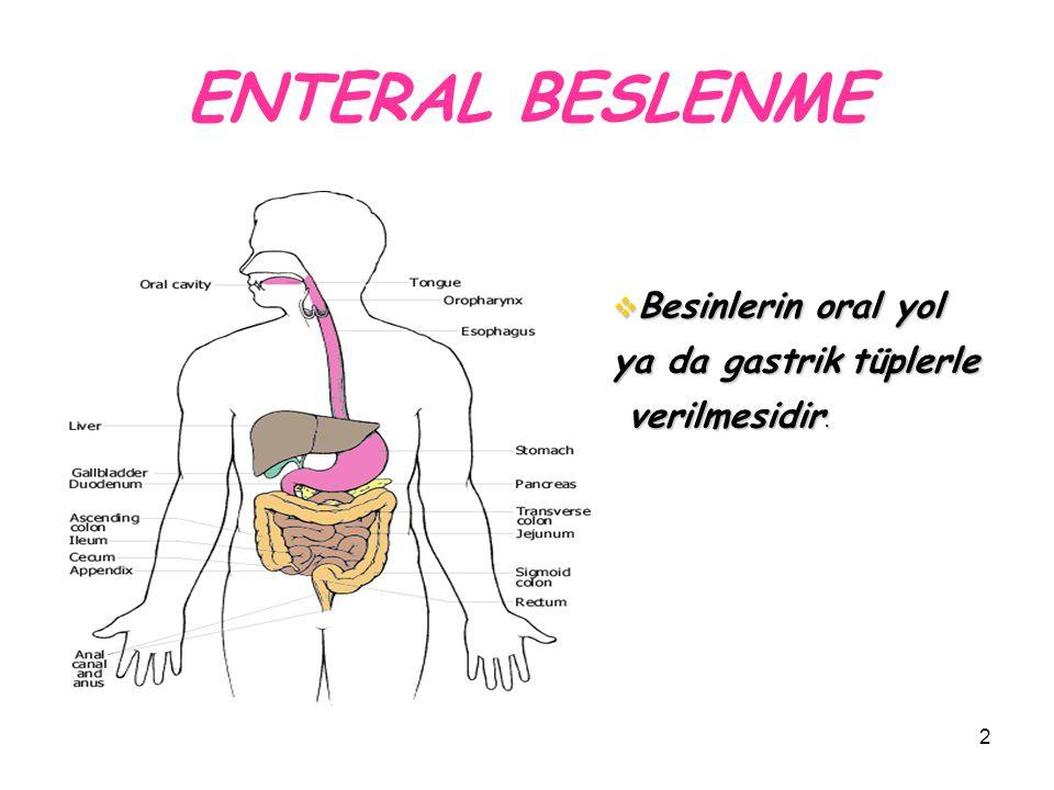 2 ENTERAL BESLENME  Besinlerin oral yol ya da gastrik tüplerle verilmesidir. verilmesidir.