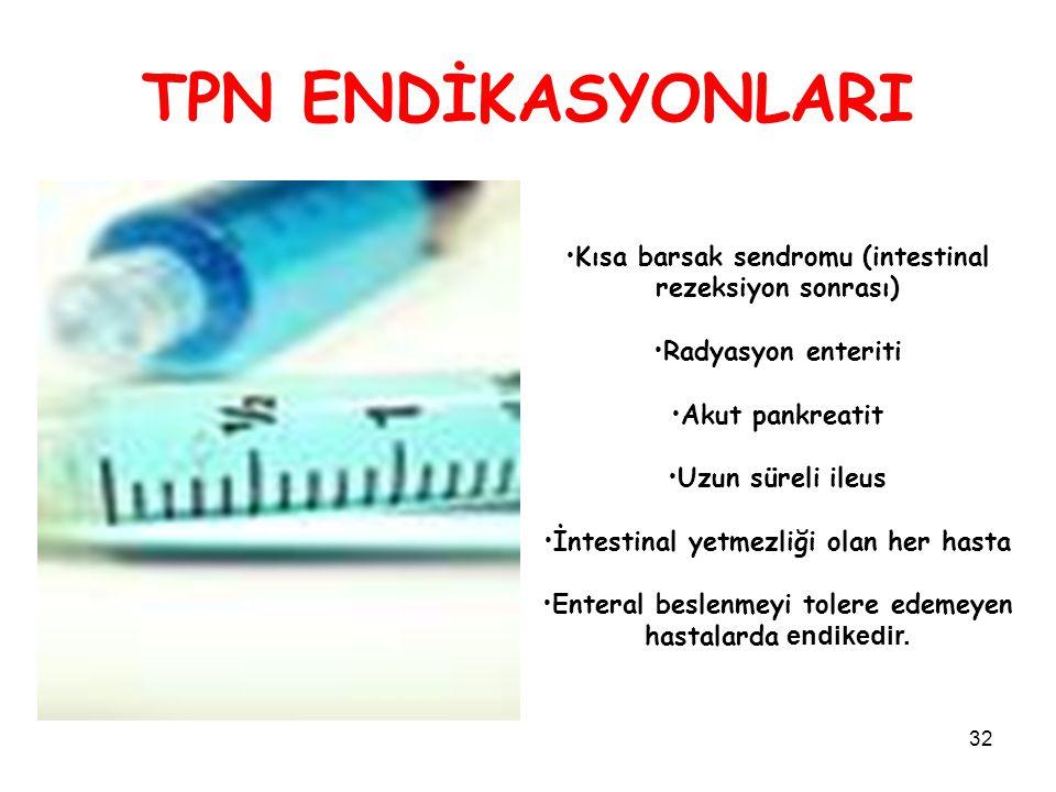 32 TPN ENDİKASYONLARI Kısa barsak sendromu (intestinal rezeksiyon sonrası) Radyasyon enteriti Akut pankreatit Uzun süreli ileus İntestinal yetmezliği