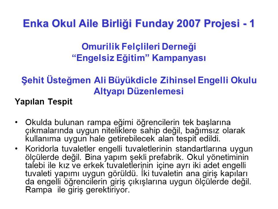 """Enka Okul Aile Birliği Funday 2007 Projesi - 1 Enka Okul Aile Birliği Funday 2007 Projesi - 1 Omurilik Felçlileri Derneği """"Engelsiz Eğitim"""" Kampanyası"""