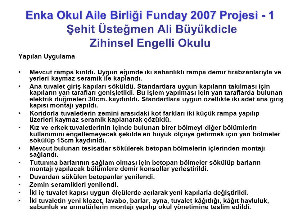 Enka Okul Aile Birliği Funday 2007 Projesi - 1 Enka Okul Aile Birliği Funday 2007 Projesi - 1 Şehit Üsteğmen Ali Büyükdicle Zihinsel Engelli Okulu Yap